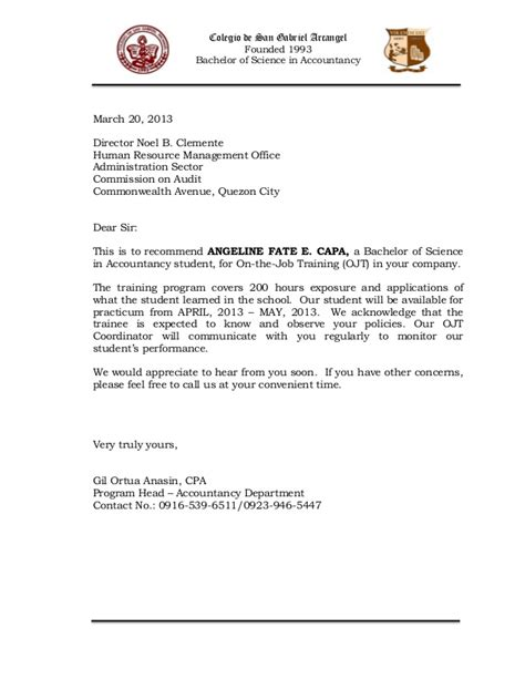 sle of narrative report for ojt acknowledgement letter for narrative report ojt 28