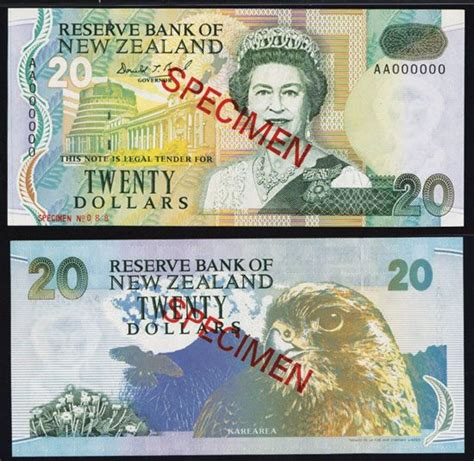 bank of new zealand reserve bank of new zealand 20 nd 1992 issue specimen