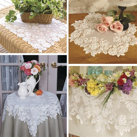 tea rose lace table toppers  heritage lace bedbathhomecom