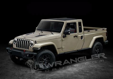jeep model jeep wrangler pickup truck rendered based on spyshots two