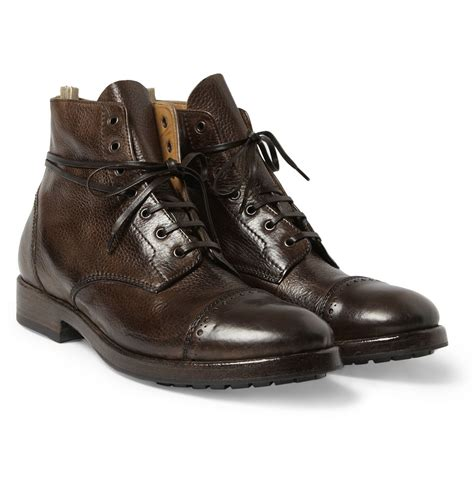 officine creative mens boots officine creative fullgrain leather brogue boots in brown