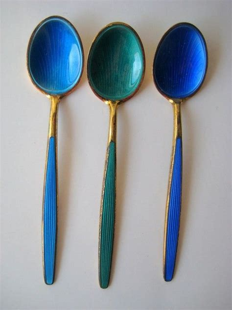 vintage david andersen sterling enamel spoons blue interiors i and spoons