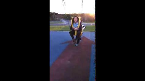 fat girl falls off swing teenage girl falls off swing fail youtube