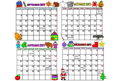 Calendrier Octobre Et Novembre 2017 Calendrier 2017 Mois Septembre Octobre Novembre Decembre