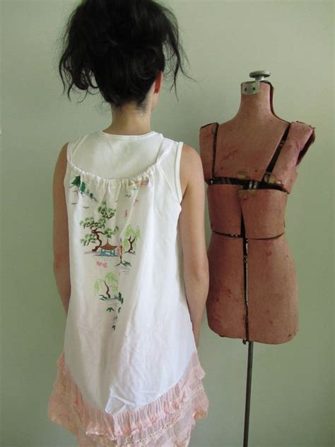 Justice Dress Tank Pink Motif upcycled clothing embroidered motif white tank