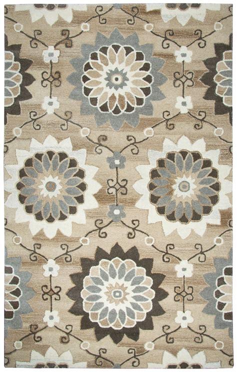sunflower area rug suffolk sunflower trellis wool area rug in beige brown 5 x 8