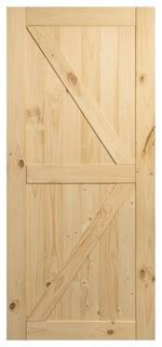 sliding single barn door unfinished knotty pine  rail