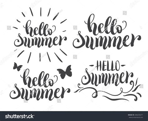 typography modern hello summer lettering set typography stock vector 408240271