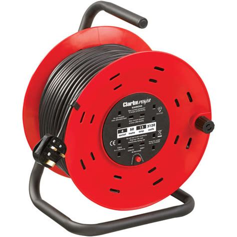 C 50 Pcs clarke ccr50 4 socket 50m cable reel with thermal cut out