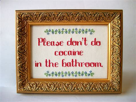cocaine bathroom please don t do cocaine in the bathroom cross stitch