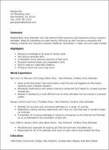 Construction Estimator Resume Sle by Professional Shop Estimator Templates To Showcase