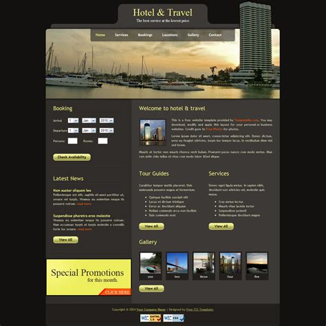 free layout of website template 104 hotel