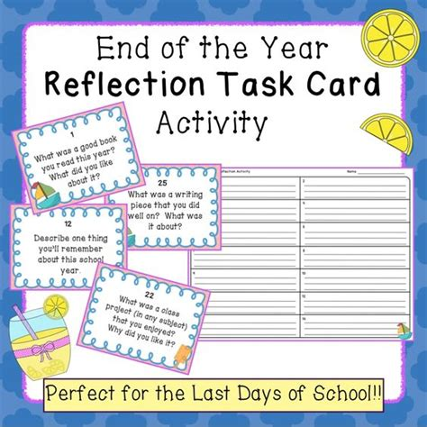 end of the school year reflection task card activity