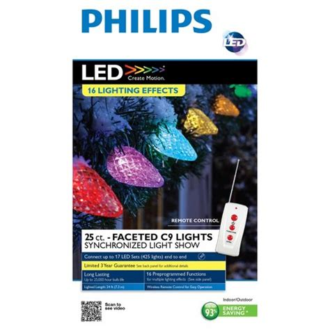 philips 25ct multi led faceted c9 lights with remote