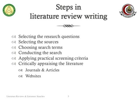 what are the steps in writing a research paper literature reviews literature searches