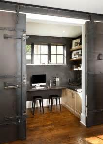 Industrial Barn Doors Industrial Home Office With Metal Barn Doors On Rails Transitional Den Library Office
