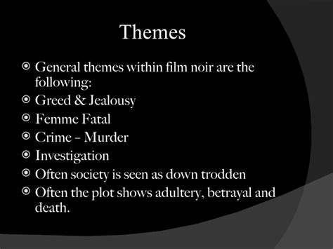 Common Themes In Film Noir | film noir presentation