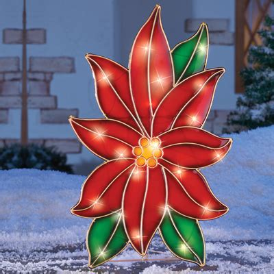 how to make a christmas yard poinsettia lighted lighted stained glass poinsettia outdoor decor from collections etc