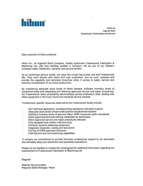 Endorsement Letter For Equipment hibon blower distributor new rebuilt pd blowers