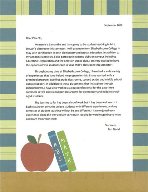 Letter Of Introduction To Host Family sle intro letter to parents student teaching
