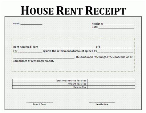 house rent slip rent receipt format for house and property free business