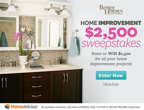 top 28 home remodeling sweepstakes and contests