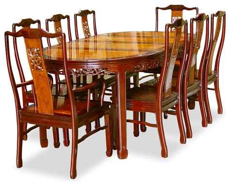 Dining Table China 80in Rosewood Flower Design Oval Dining Table With 8 Chairs Asian Dining Sets By China