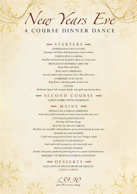 new year restaurant menu new year s menuvalledoro italian restaurant newbury
