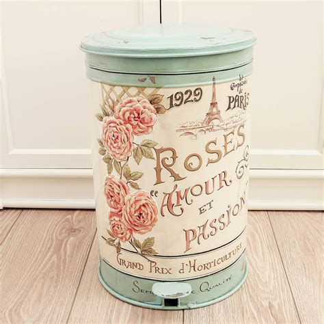 vintage roses armour pedal bin by dibor notonthehighstreet com
