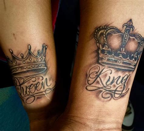 50 adorable king and queen tattoos for couples 2017
