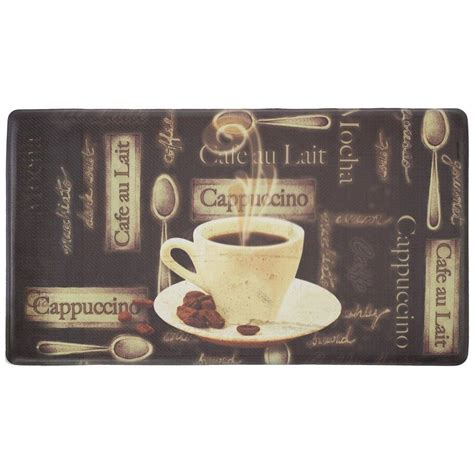 Coffee Kitchen Mat by Chef Gear Cafe Au Lait 18 In X 30 In Foam Comfort
