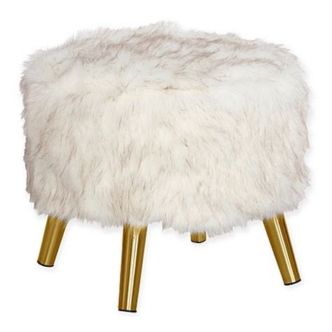 white faux fur ottoman buy skyline furniture brooker faux fur round ottoman in