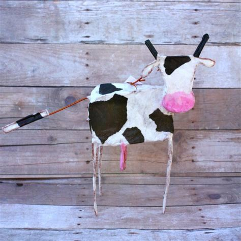 How To Make A Paper Mache Cow - standing cow paper and wire ornament papier mache