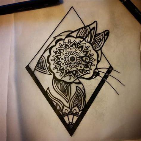 rhombus pattern tattoo patterned mandala cat in rhombus frame tattoo design