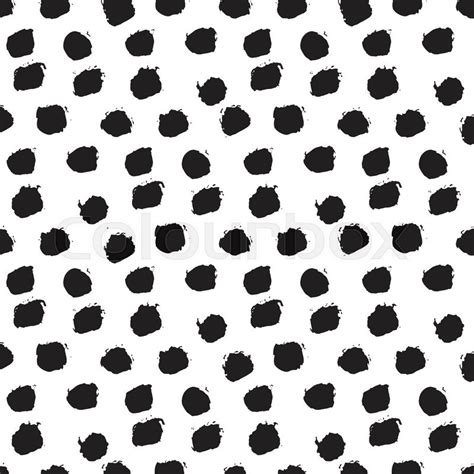 ink pattern black and white seamless ink brush painted polka dot pattern vector
