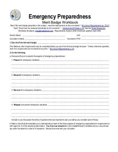Emergency Prep Merit Badge Worksheet   Free Printables Worksheet as well First Aid   MeritBadgeDotOrg together with Merit Badge Lesson Plans   Worksheets Reviewed by Teachers besides 21 Inspirational Personal Management Merit Badge Worksheet Answers further boy scout personal fitness merit badge worksheet Opinion of family in addition  moreover Emergency Prep Merit Badge Worksheet also  moreover Boy Scout Merit Badge Worksheet Answers   Kidz Activities moreover Emergency Preparedness Merit Badge Worksheets for all   Download and moreover Emergency Preparedness Merit Badge Worksheet Beautiful Code Of the additionally Emergency Preparedness Merit Badge Worksheet Also 33 Best Boy Scout likewise printable worksheets for head start – sindebad info together with Emergency Preparedness Merit Badge Cl additionally EMERGENCY PREPAREDNESS BYU Merit Badge PowWow Merit likewise Boy Scout Hiking Merit Badge Worksheet Answers Unique Sports Merit. on emergency preparedness merit badge worksheet
