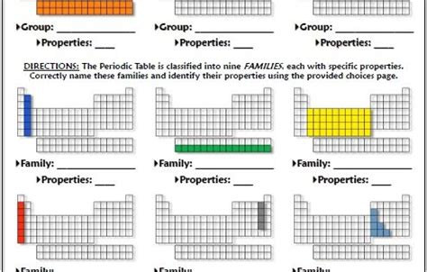 printable periodic table test test the periodic table placement and properties