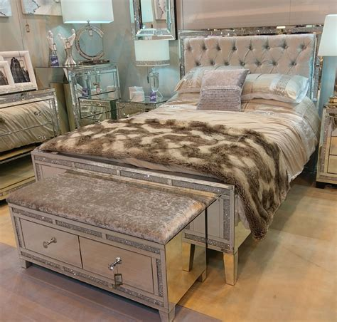 Mirrored King Bed by Mirrored Tuscany King Size Bed With Swarovski Crystals