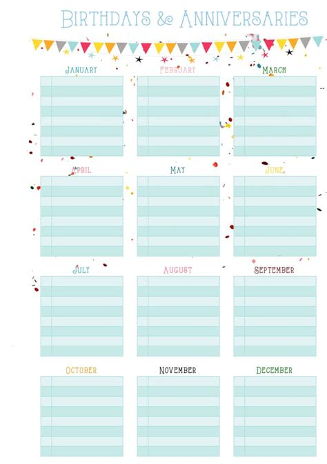 birthday and anniversary calendar template 30 best free planner printables images on