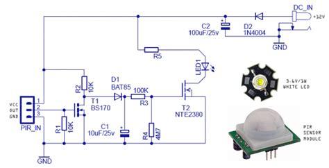 motion sensing security light circuit