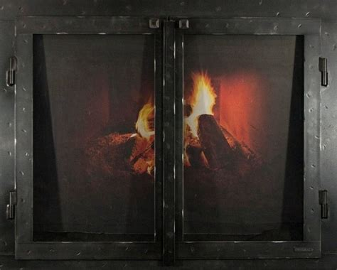 industrial fireplace screen iron fireplace glass door with gate mesh 2 1 2 quot frame