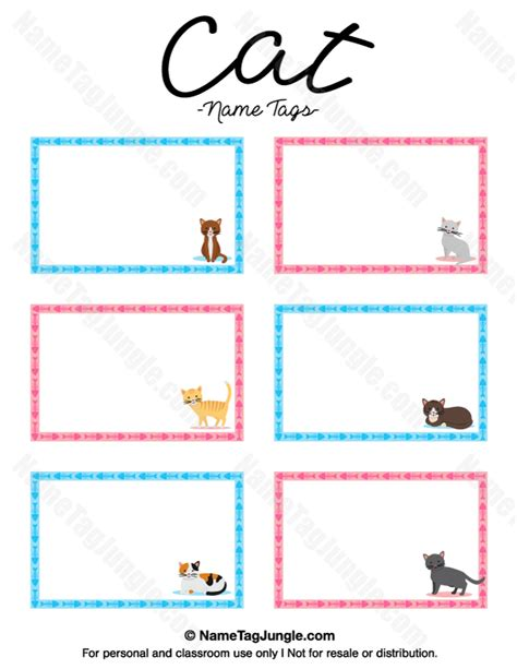 printable cat card template free printable cat name tags the template can also be