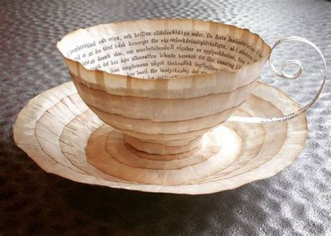 craft work with paper cups artist repurposes vintage books as exquisite paper cups
