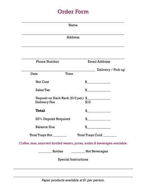 sle work order form template 28 office lunch order form template best photos of