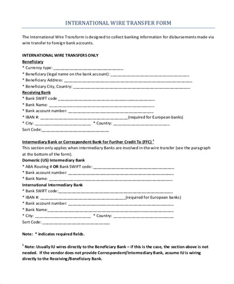 bank transfer receipt template sle wire transfer form 10 free documents in pdf