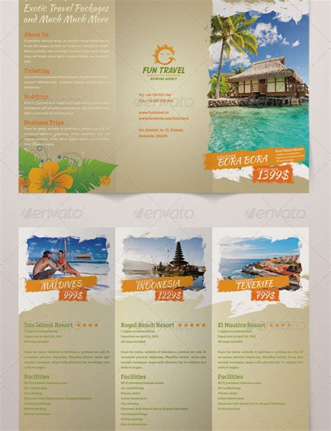 fun travel trifold brochure flyer inspiration