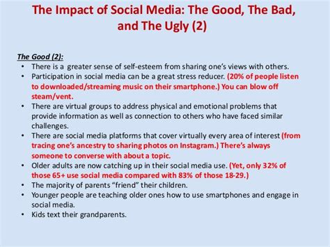 thesis about social media and self esteem social media the good the bad and the ugly