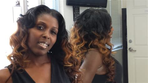 colored sew in sew in with 4 bundles colored with ombre tips on