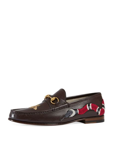 gucci moccasin loafers gucci roos leather moccasin loafer with snake brown