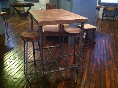 reclaimed wood pub table hand made pipe base pub table with reclaimed wood top by